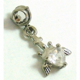 Crown Heart Crystal Dangle Screw On Attachment For 1.6mm Dermal Anchor