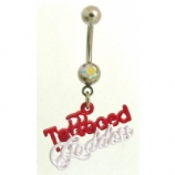 'Tattooed Goddess' Tattoo Slogan Dangle Belly Bar