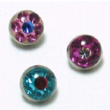 Two Tone Multi Crystal Disco Disk Screw On Attachment For 1.6mm Dermal Anchor