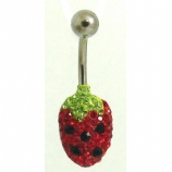 Strawberry Small Discoball Crystal Belly Bar