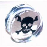 Floating Skull & Crossbones Logo Clear Acrylic Saddle Plug