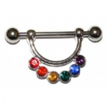 Rainbow Crystal Dangle Nipple Shield & Bar