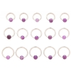 Amethyst Stone Ball Closure Ring - 1.2mm