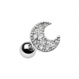 Crystal Studded Crescent Moon Tragus / Helix Bar