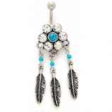 Turquoise Stone Flower and Feather Belly Bar