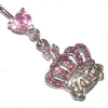 Princess Crystal Crown Dangle Belly Piercing Bar