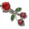 Skulls & Cherries Rockabilly Dangle Belly Piercing Bar