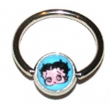 Betty Boop Logo Ball Closure Nipple Ring
