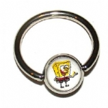 Sponge Bob Logo Ball Closure Nipple Ring