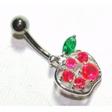 Apple Hot Pink Crystal Sterling Silver Belly Bar