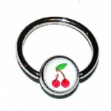 Cherry Logo Ball Closure Nipple Ring