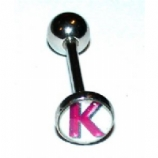 Initial Letter Logo Tongue Piercing Bar