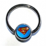 Superman Logo Ball Closure Nipple Ring