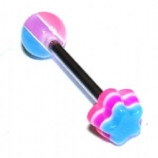 Flower UV Layered Tongue Piercing Bar