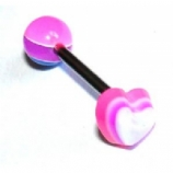 Heart UV Layered Tongue Piercing Bar