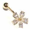 9ct Yellow Gold Crystal Daisy Flower Belly Piercing Bar