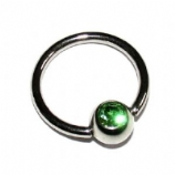 Crystal Gem Ball Closure Ring - 1.2mm