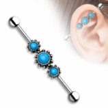 Triple Turquoise Gem Frame Scaffold Industrial Barbell