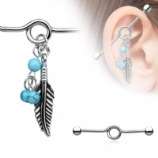 Turquoise Bead & Feather Charm Dangle Scaffold Barbell