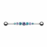 Purple & Teal Crystal Row Scaffold Industrial Barbell