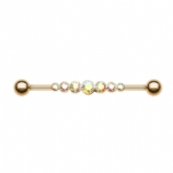 Rose Gold Plated AB Crystal Line Scaffold Industrial Barbell