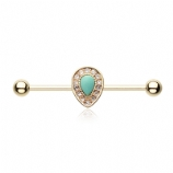 Gold Plated Turquoise Chakra Scaffold Barbell