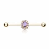 Gold Plated Purple Crystal Cluster Scaffold Barbell