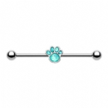 Animal Lover Opal Paw Scaffold Barbell