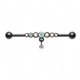 Black and AB Dazzling Gem Row Dangle Scaffold Barbell