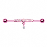 Pink & Iridescent Dazzling Gem Row Dangle Scaffold Barbell