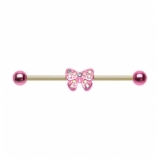 Pink & Iridescent Crystal Bow Scaffold Barbell
