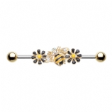 Golden Queen Bee & Flowers Scaffold Barbell
