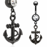 Black Surgical Steel Anchor Dangle Belly Bar