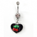 Black Enamel Heart and Cherry Dangle Belly Bar