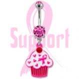 Pink Cupcake Breast Cancer Awareness Dangle Belly Bar
