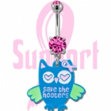 'Save The Hooters' Owl Breast Cancer Awareness Dangle Belly Bar