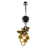 Bee & Honeycomb Dangle Belly Bar