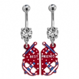 Best Friends Anchor and Heart Belly Bar Set