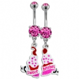 Sweet Bitches Cupcake and Ribbon  Friend Belly Bar Set
