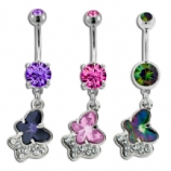 Large Crystal Butterfly and Paved Outline Belly Bar