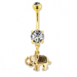 Gold Plated Elephant Dangle Belly Bar