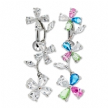 Sparkly Flower Crystal Long Top Drop Belly Bar