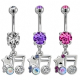 Sparkly Crystal Music Note Dangle Belly Bar