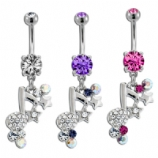 Sparkly Music Note and Stars Dangle Belly Bar