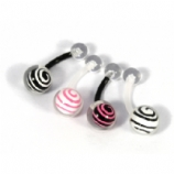 Spiral Inlay Clear Ball Flexi Belly Bar