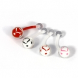 Heart & Star Inlay Clear Ball Flexi Belly Bar