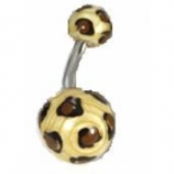 Brown Leopard Print Acrylic Belly Bar