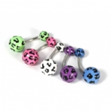 Coloured Leopard Print Acrylic Belly Bar