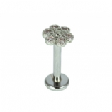 White Crystal Daisy Internally Threaded Labret Stud - 1.2mm