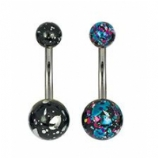Foil Effect Titanium Belly Bar